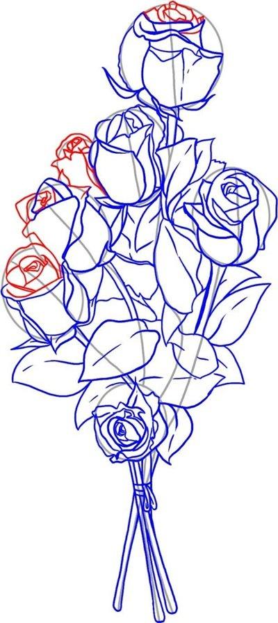 Как нарисовать открытку с розой 92