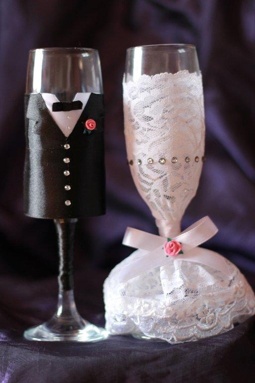 Фужеры жених и невеста на свадьбу своими руками мастер класс фото 20