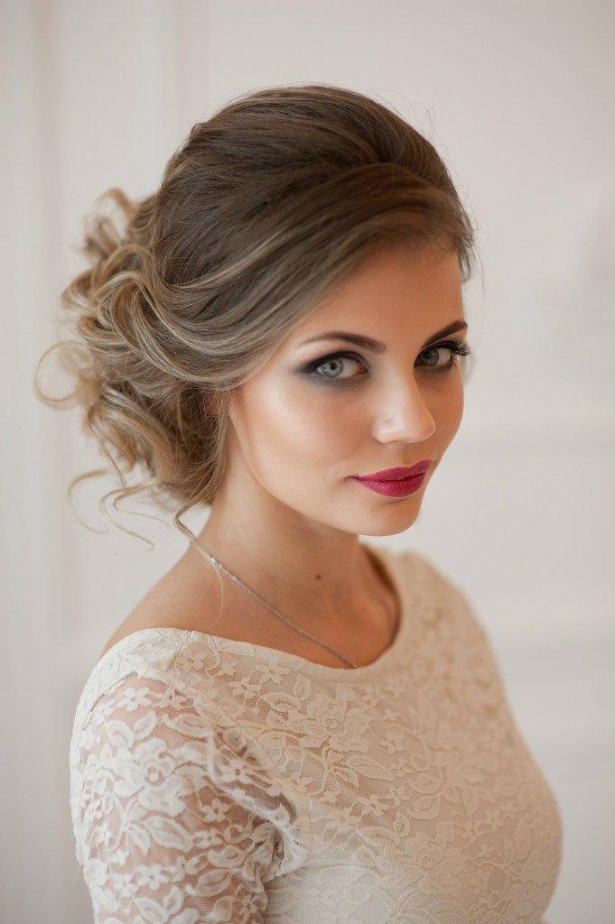 Свадебная прическа русые волосы