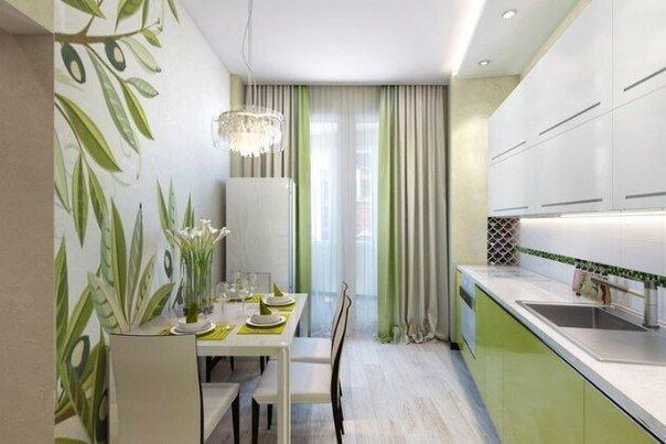 Дизайн кухниобоями в зеленых тонах