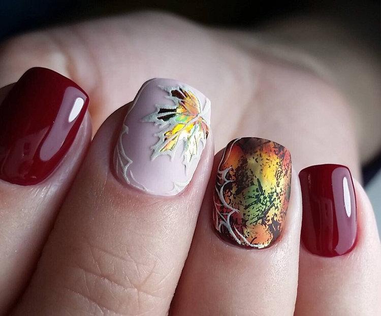 Осенний рисунок на ногтях фото 2018