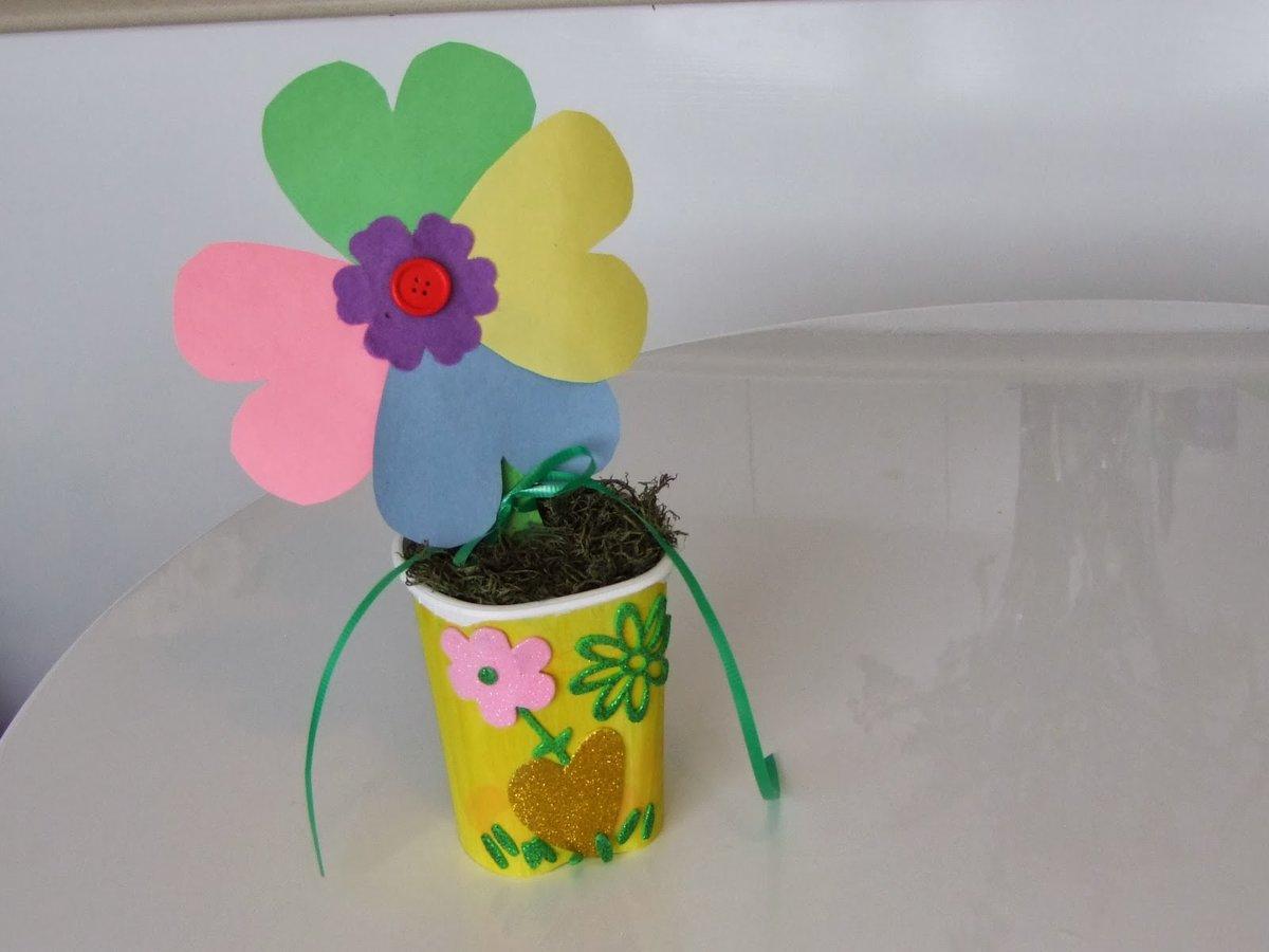Открытка своими руками чашка с цветами