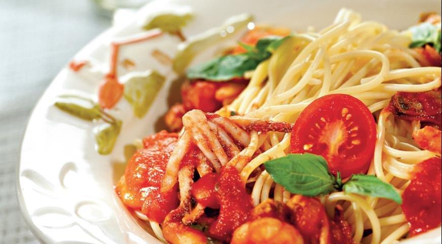 Рецепт спагетти с морепродуктами