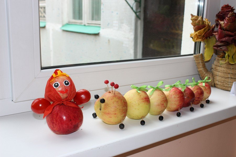 Поделка из свежего яблока 71