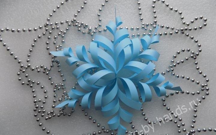 Объёмные снежинки из бумаги своими руками пошаговая инструкция фото 30