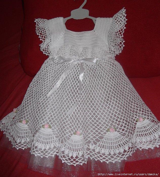 Как украсить вязаное платье для девочки своими руками 77