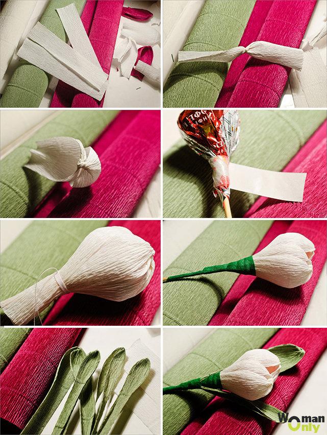 Как из конфет и бумаги сделать тюльпан