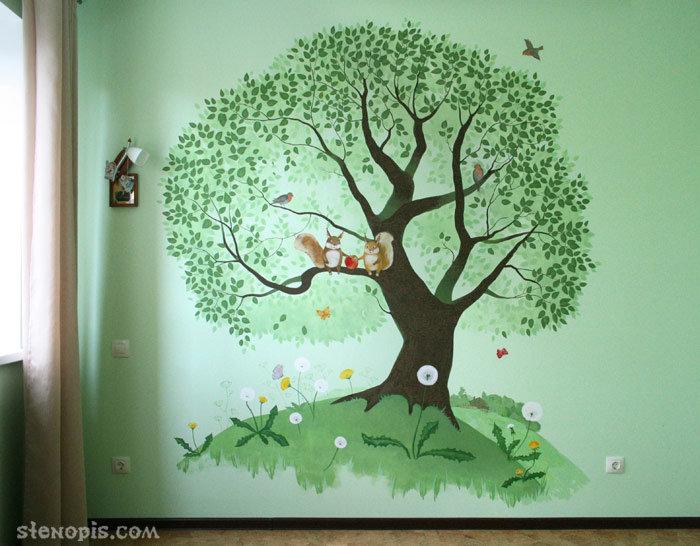 Нарисовать дерево на стене своим руками