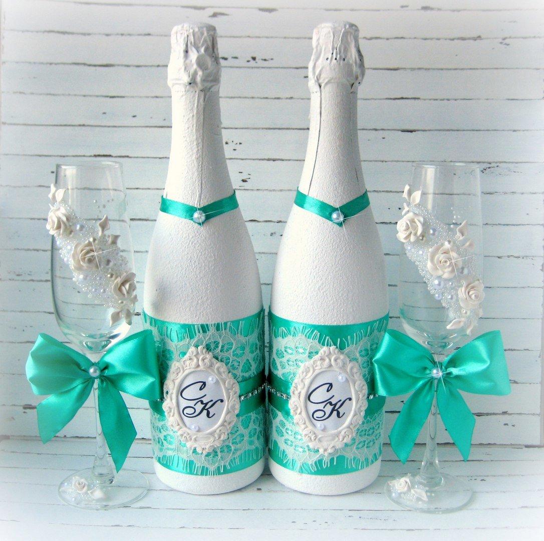 Оригинальные украшение для шампанского на свадьбу своими руками