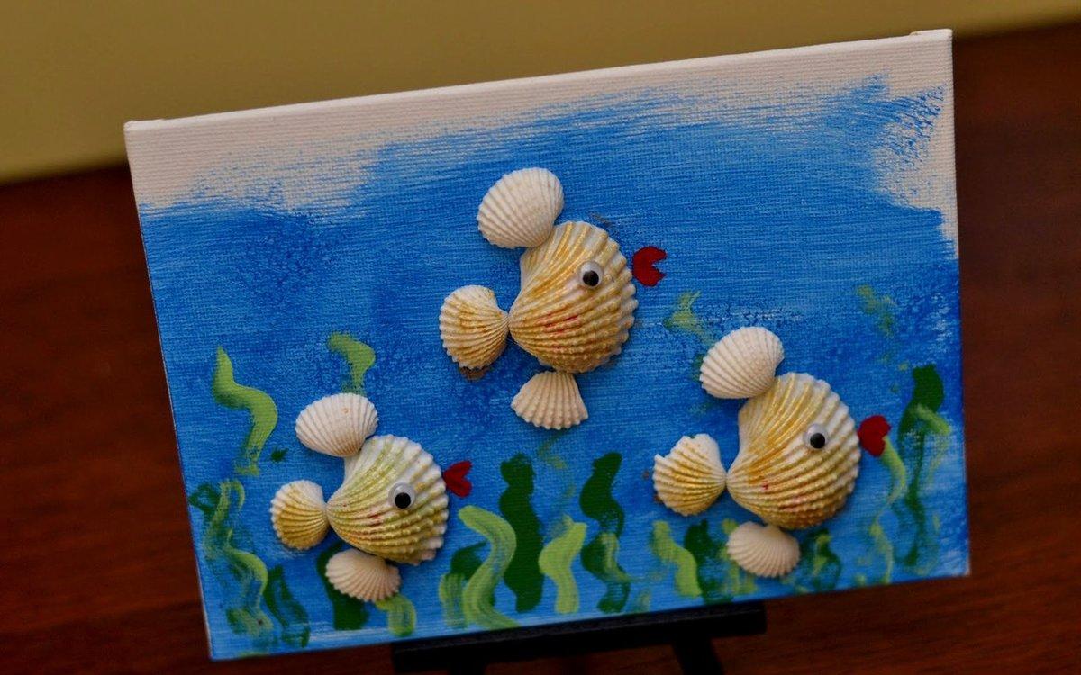 Рыбка поделки из ракушек