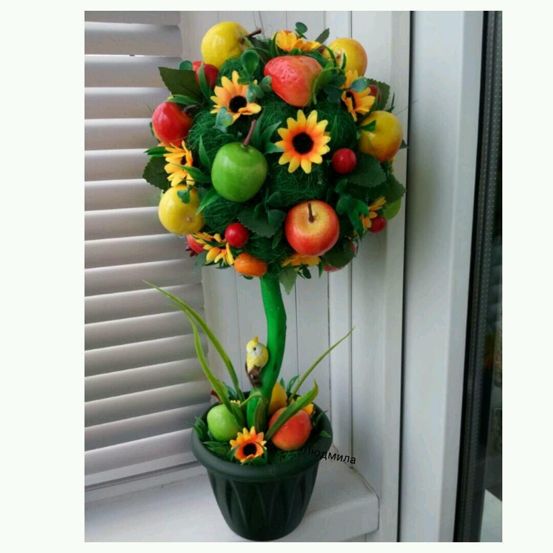 Топиарий из цветов и фруктов своими руками фото 58