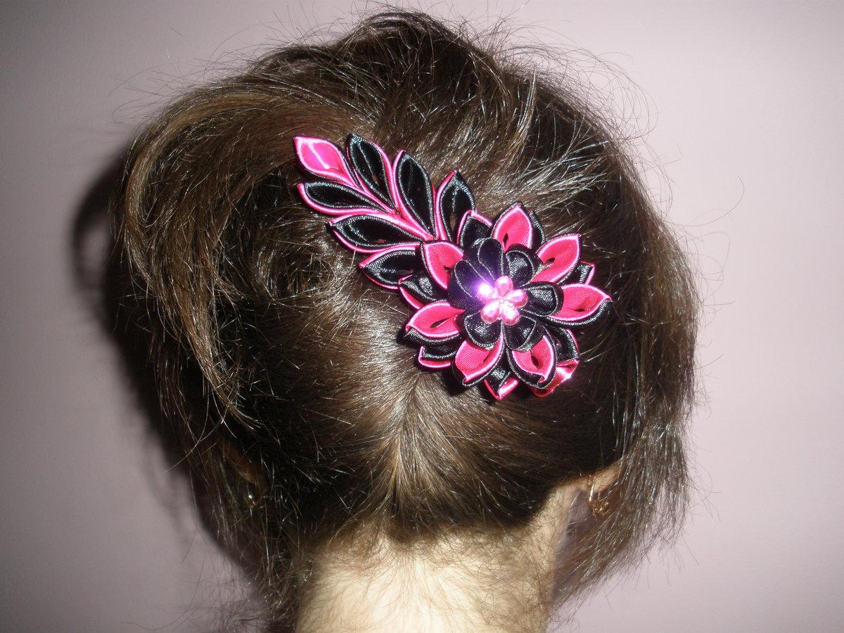 Фото заколки и резинки для волос своими руками из лент мастер класс канзаши