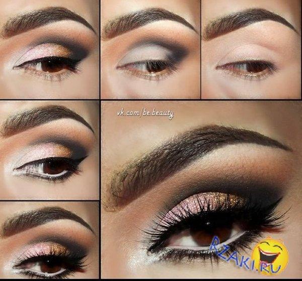 Вечерний макияж для каре карие глаза