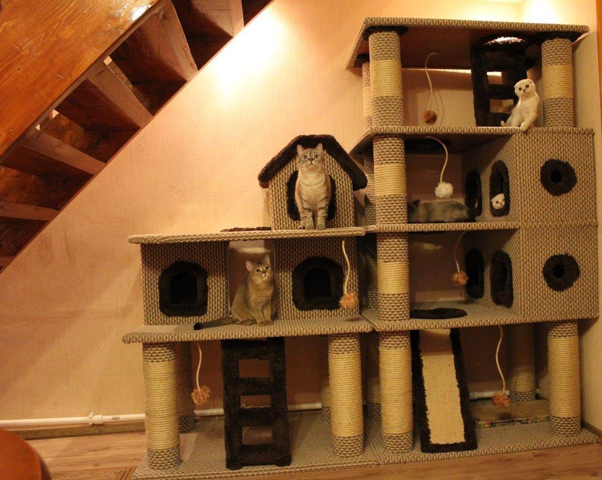 Многоуровневый кошачий домик своими руками