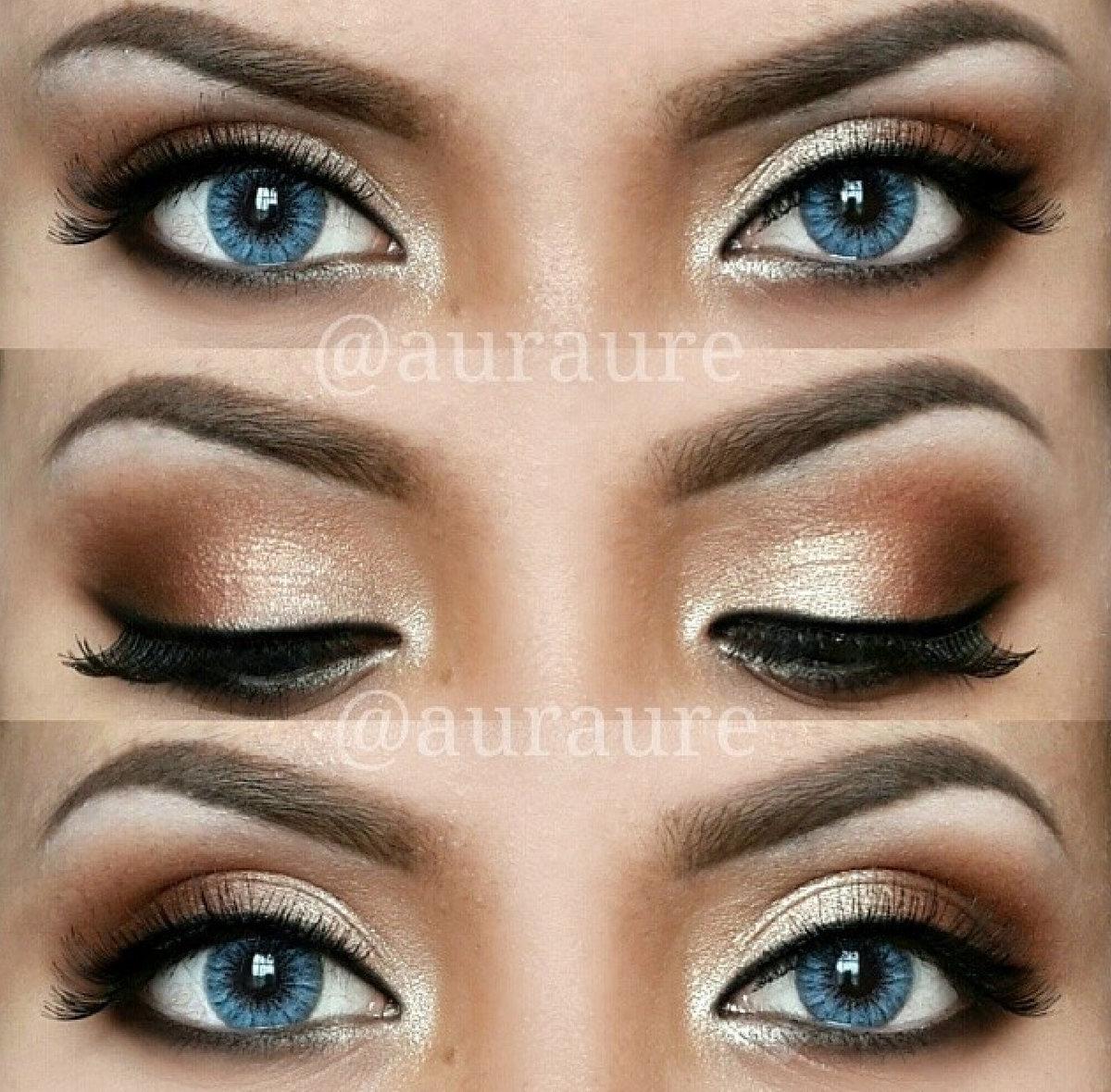 Макияж глаз маленьких синих глаз