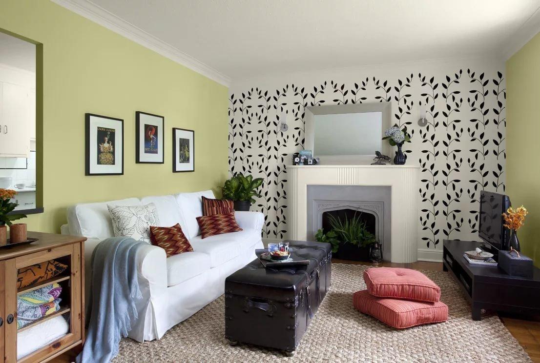 Сочетание двух цветов стен в интерьере фото