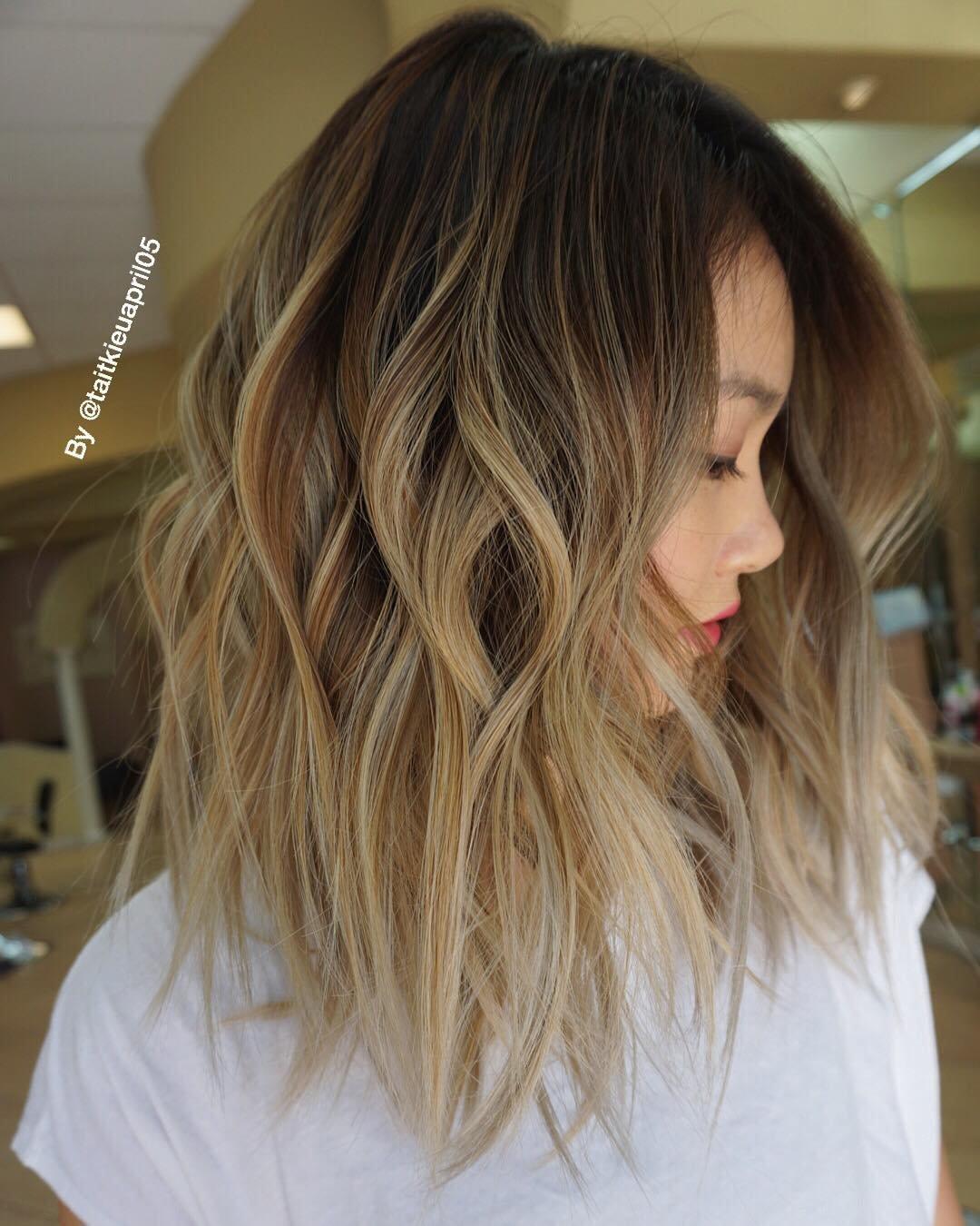 Омбре на шатенку на прямые волосы