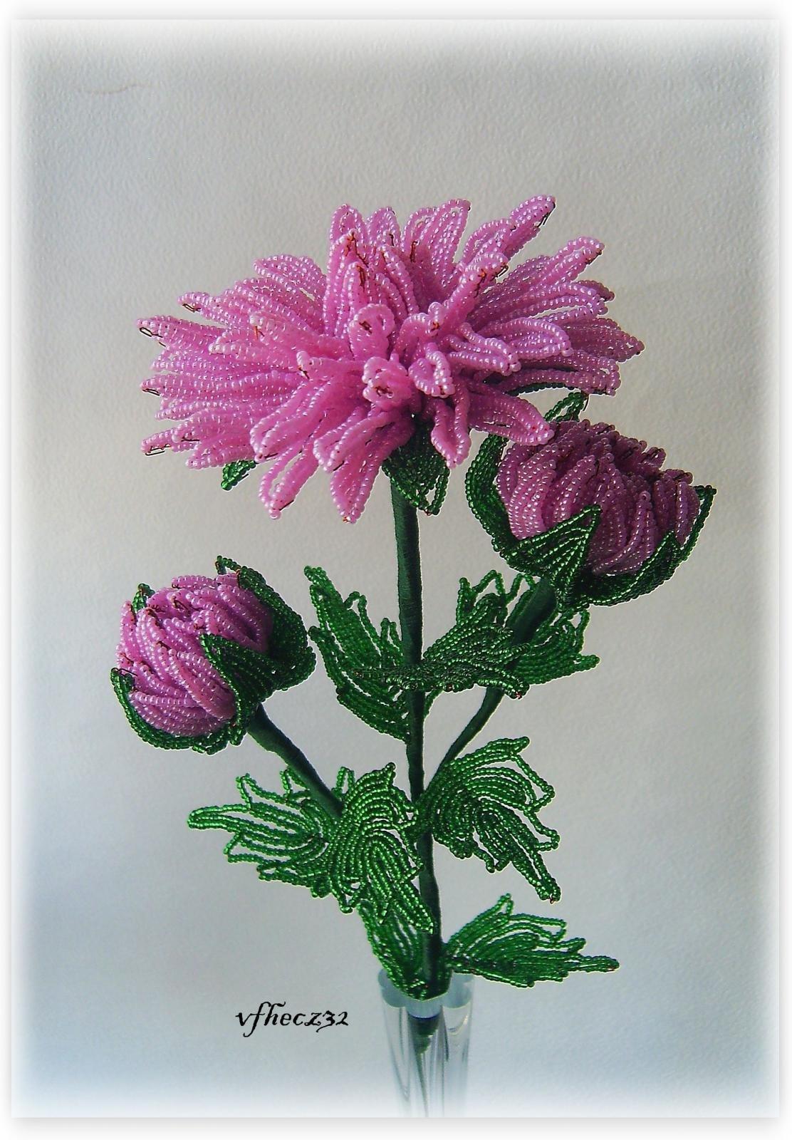 Схемы плетения с пошаговым фото хризантемы из бисера