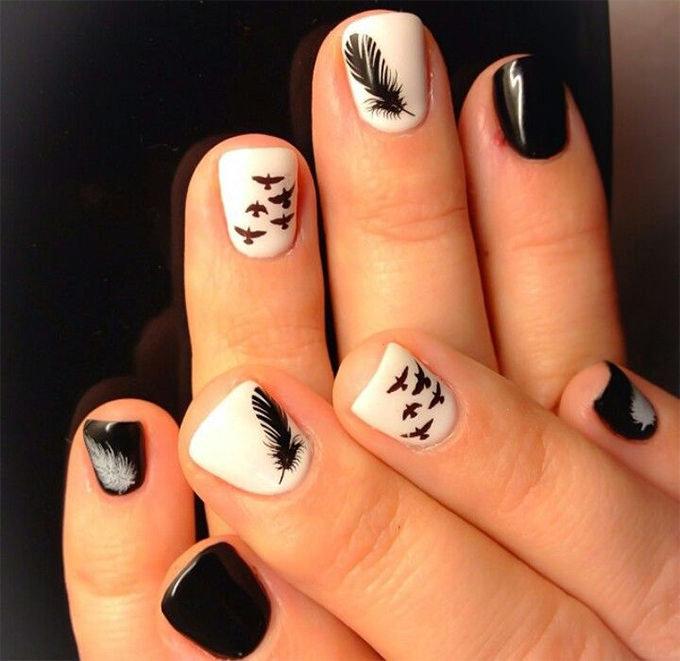 Рисунки ногтей с черно белым лаком