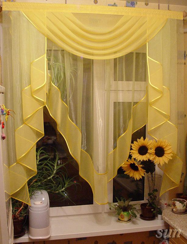 Красивые кухонные шторы своими руками 129