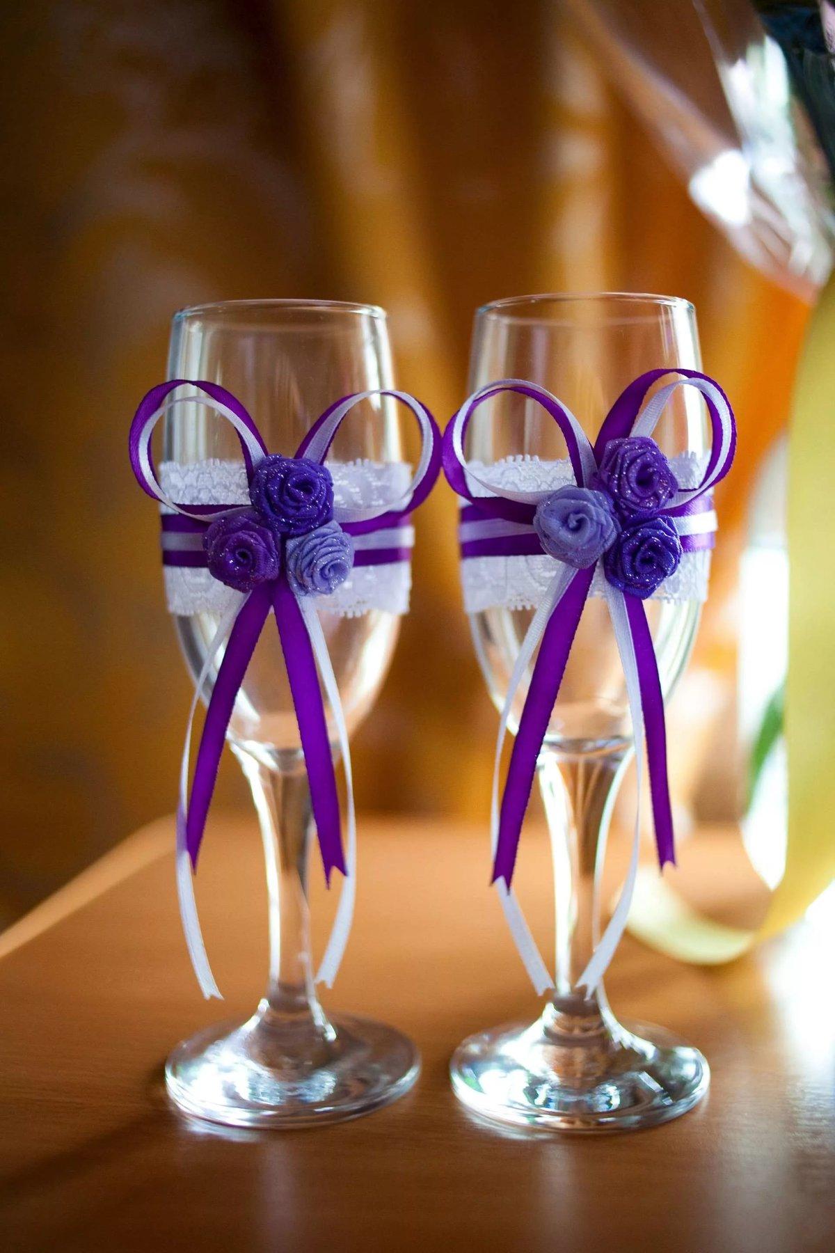 Как украсить фужеры для свадьбы