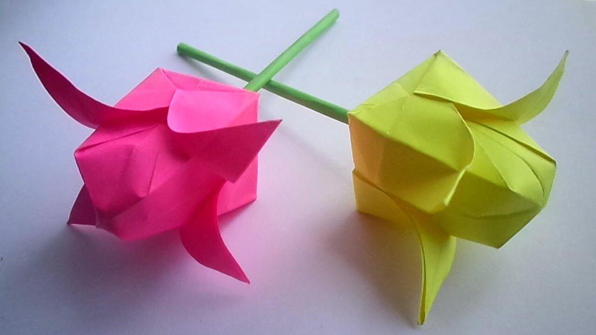Большие цветы из бумаги своими руками оригами