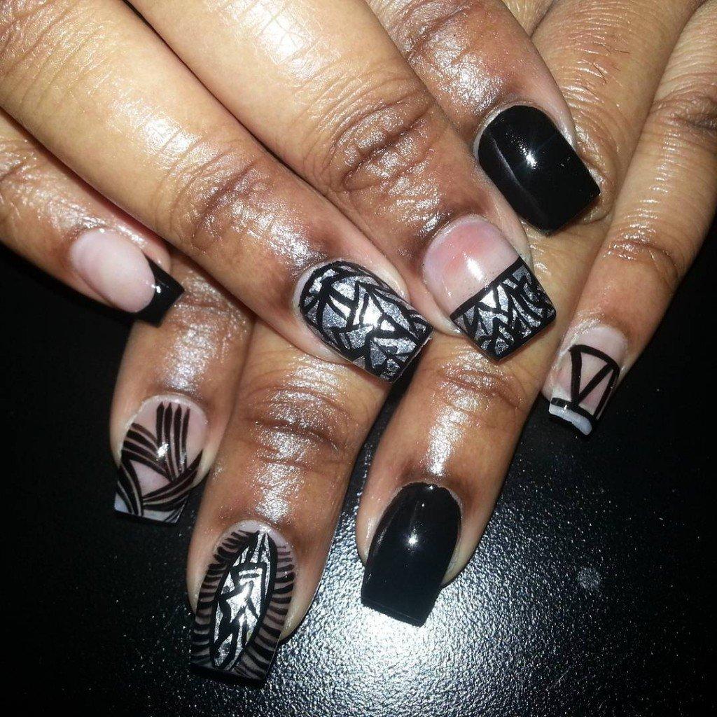 Нарощенные ногти фото темные
