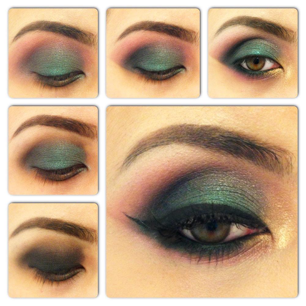 Как сделать макияж смоки айс с зелеными  977