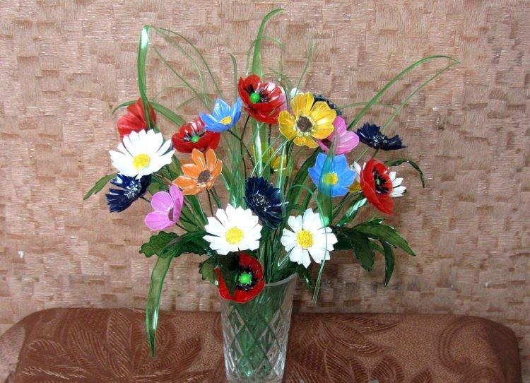 Цветы поделка из подручных материалов 28