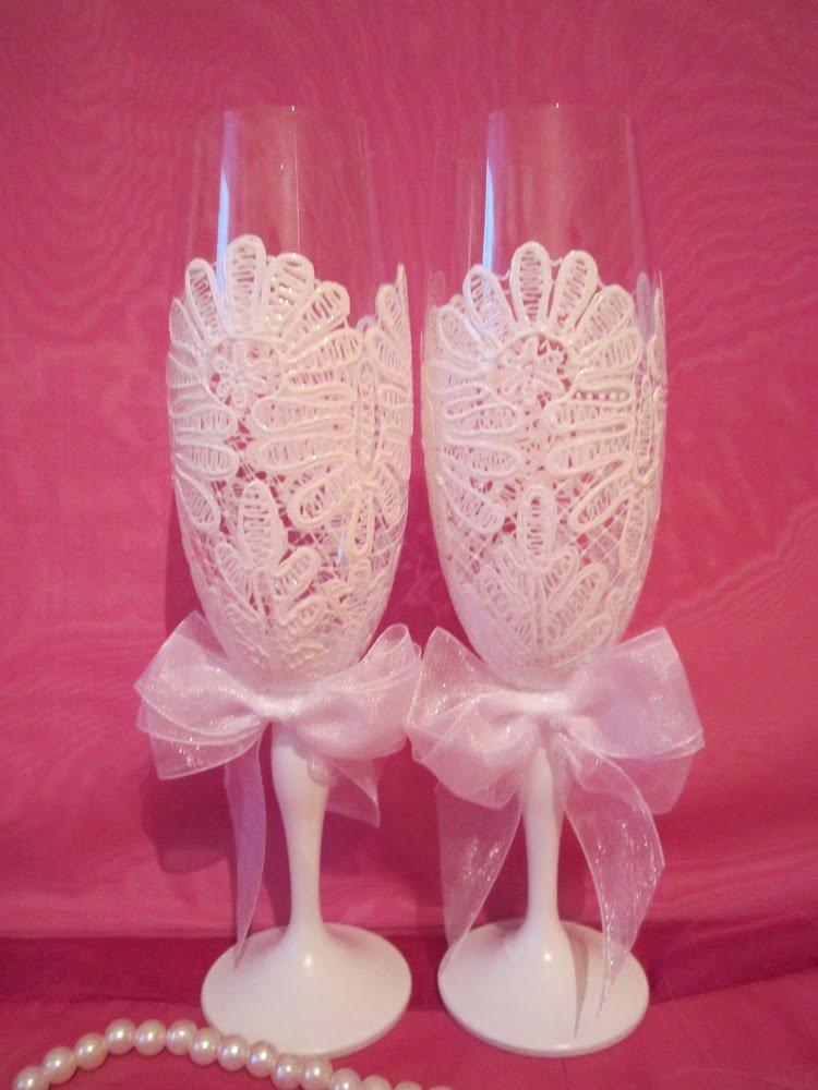 Украшение бокалов кружевом на свадьбу своими руками 45