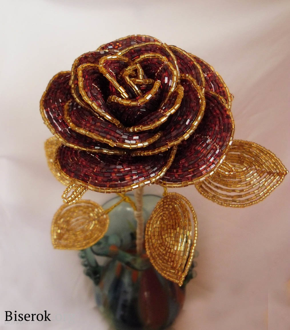 Французское плетение бисером мастер класс розы
