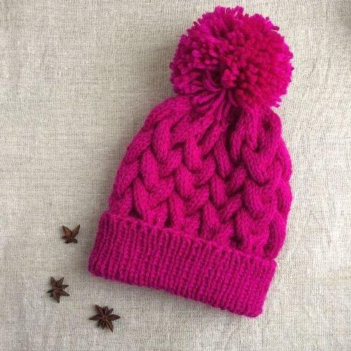 Вязание шапочки с косой 2