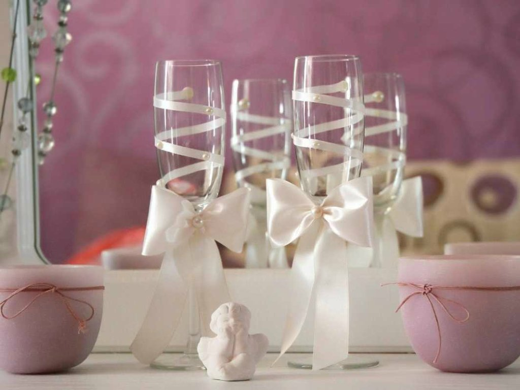 Оформление свадебных бокалов своими руками мастер-классы