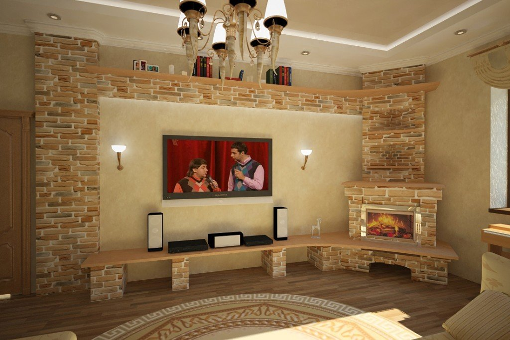 Гостиные с камином из гипсокартона своими руками 3