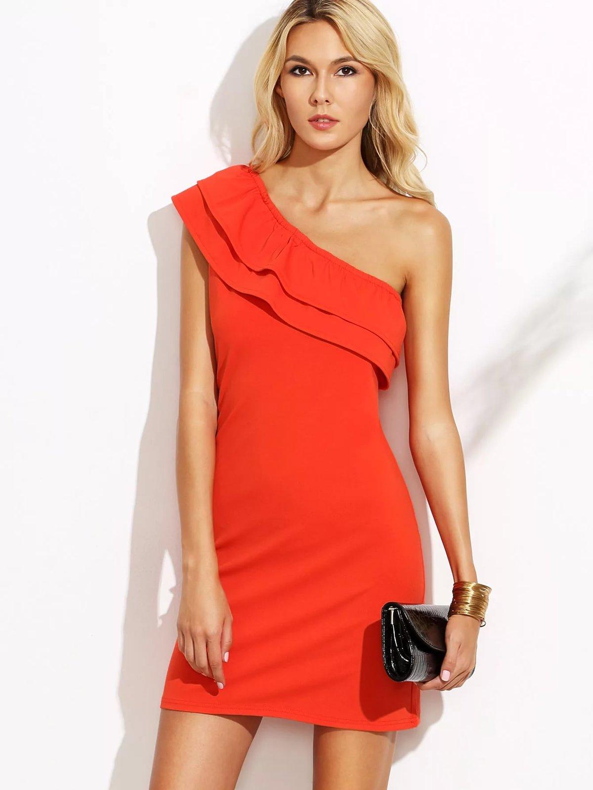 Платья с одним плечом короткие