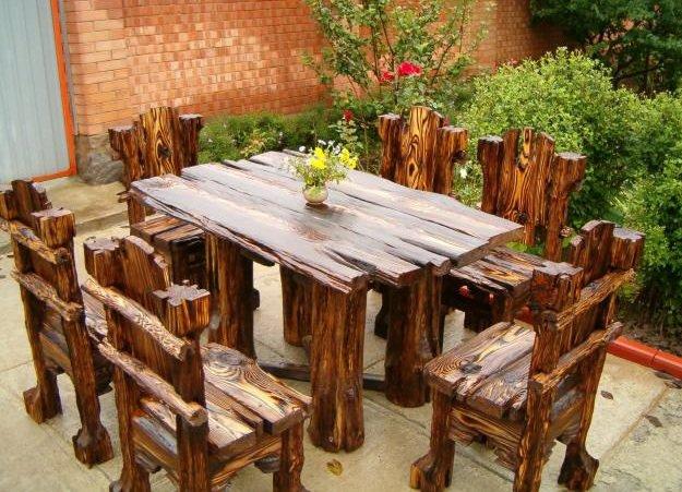 Деревянные столы и стулья для дачи из сосны своими руками фото 20