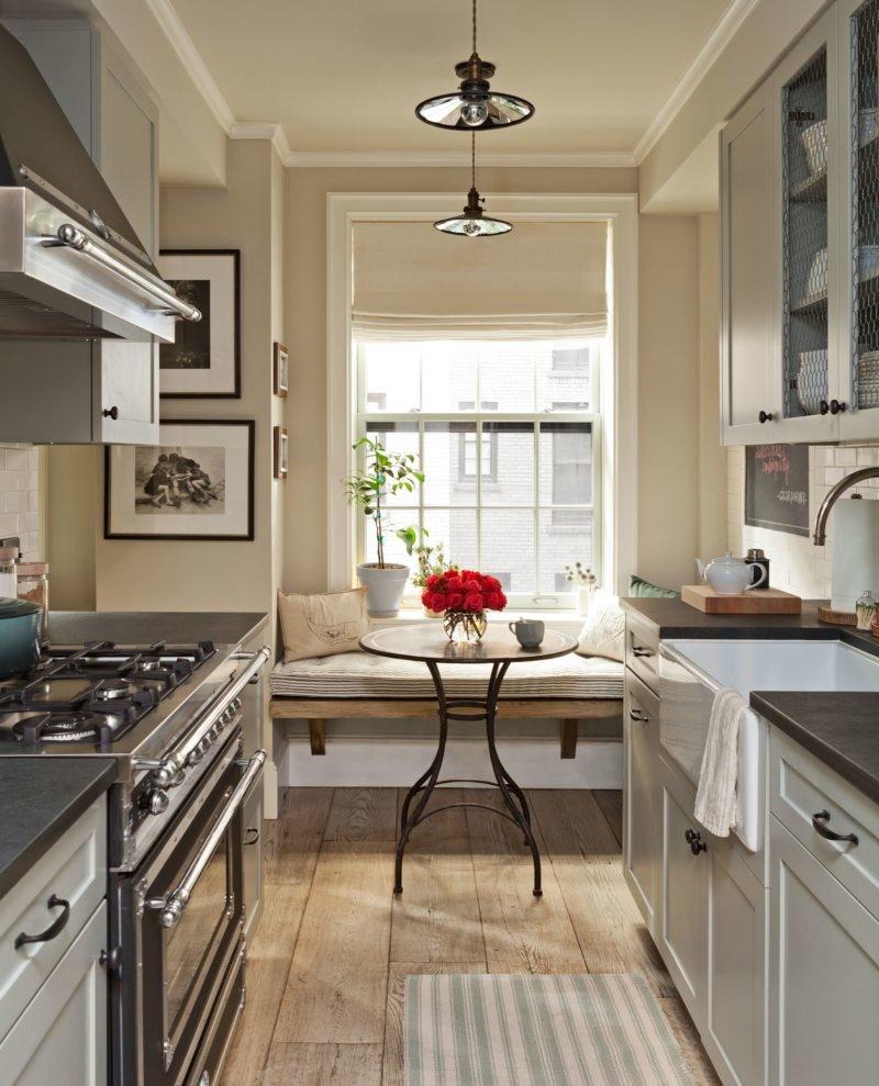 Дизайн интерьера узкой кухни фото