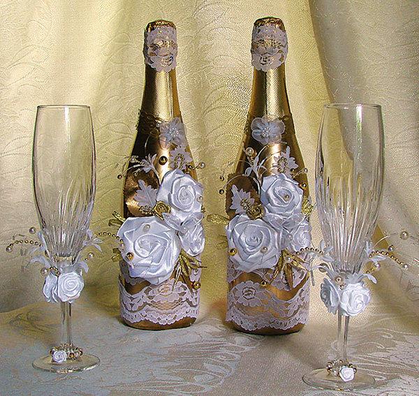 Украсить шампанское на свадьбу своими руками из атласных лент 75