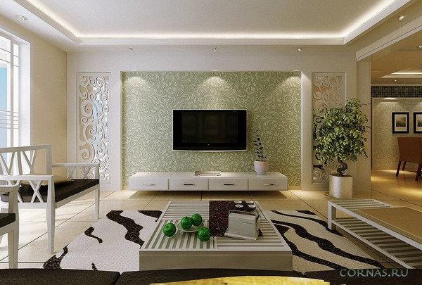 Дизайн гостиной с вставками