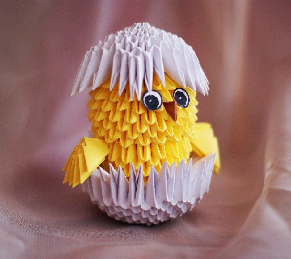 Модульное оригами цыпленок в яйце