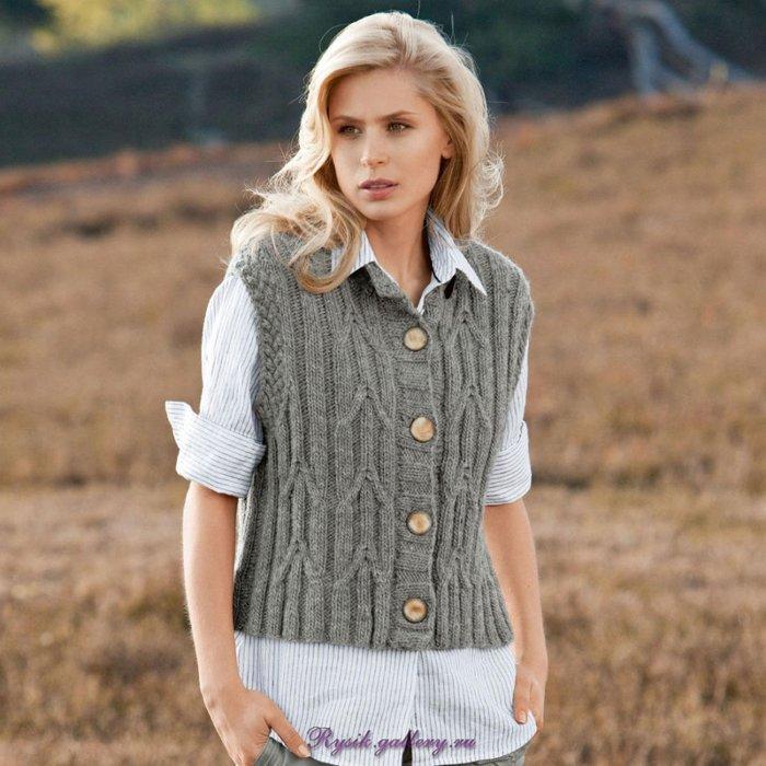 Вязание жилета на пуговицах для женщин модели