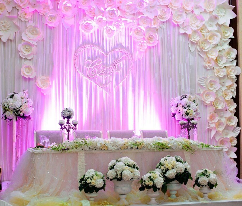 Оформление зала на свадьбу цветами