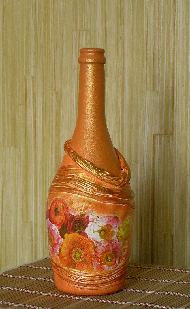 Декупаж из бутылки сделать вазу своими руками 97