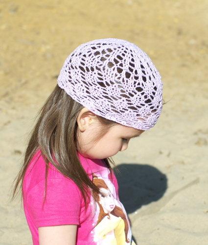 Вязание крючком детская ажурная летняя шапочка6