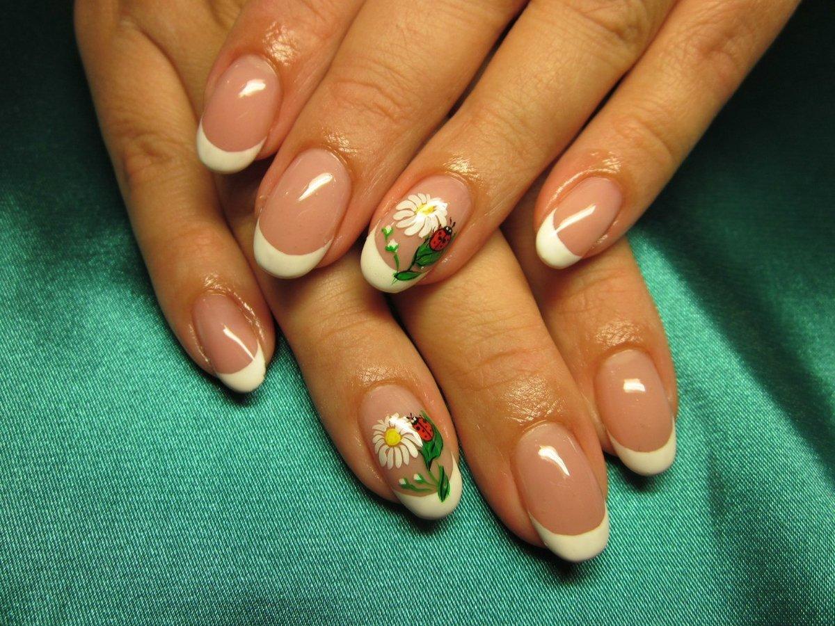 Фото цветы на ногтях французский маникюр