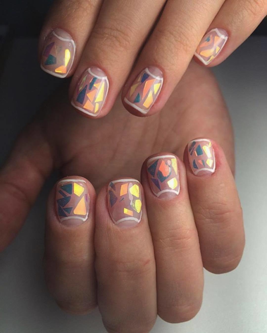 Ногти со стеклом фото и дизайн