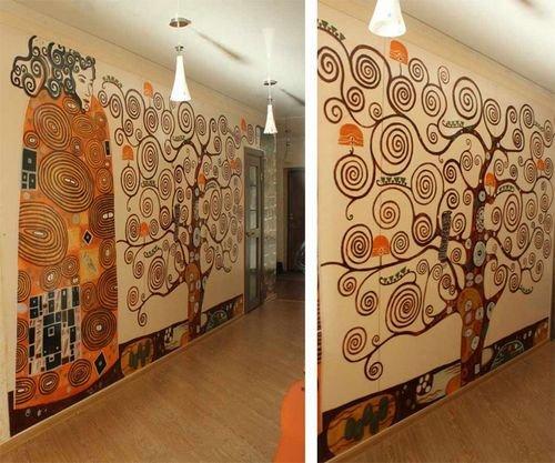 Роспись на стенах в интерьере своими руками 18