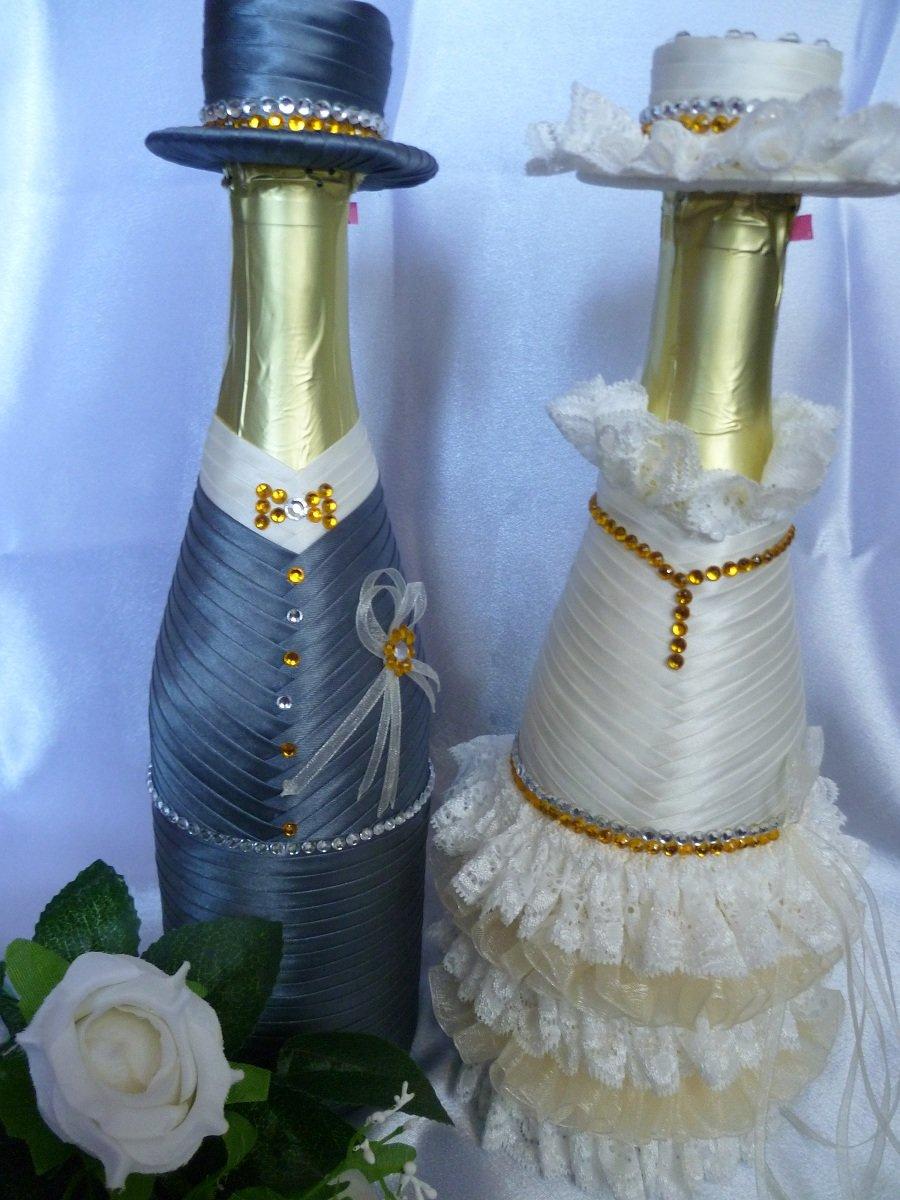 Оформление свадебных бокалов и бутылок 45