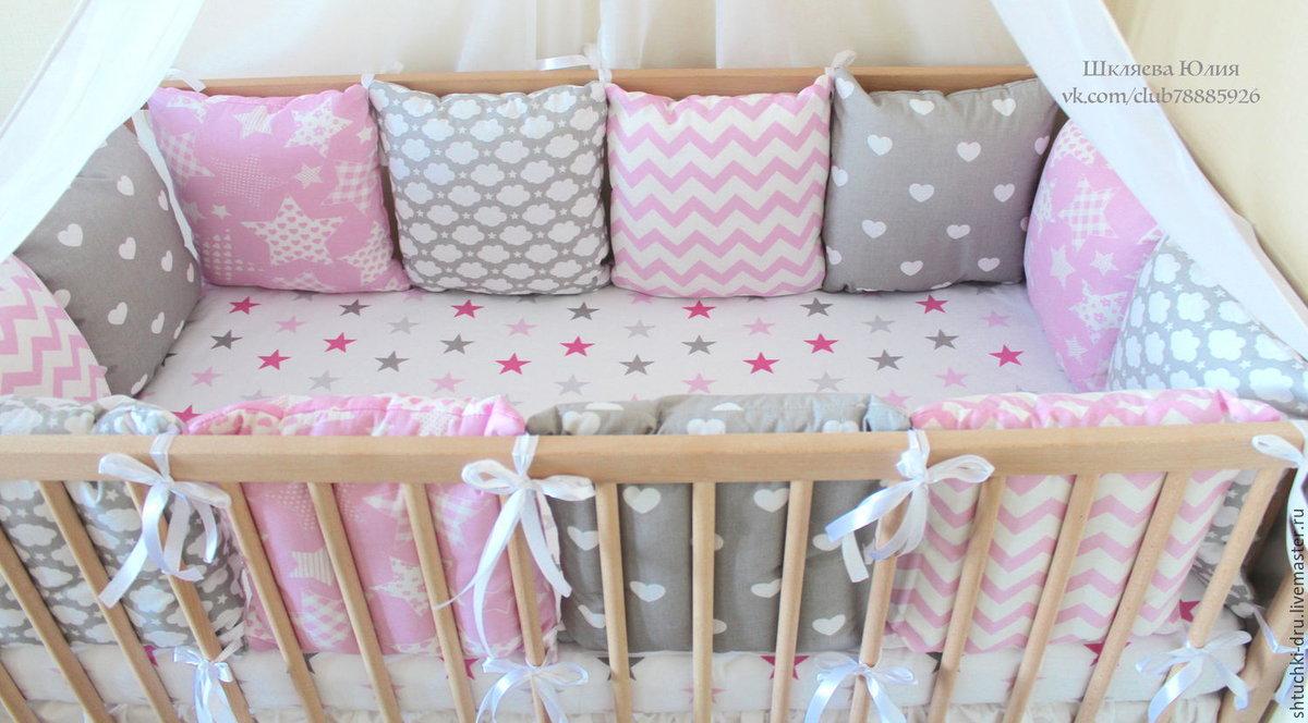 Бортики в кроватку для новорожденных из подушек своими руками 74