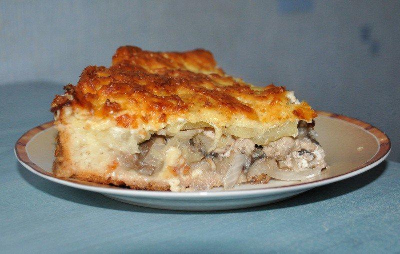 Пирог с курицей картошкой и грибами рецепт в духовке